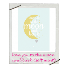 Wenskaart love you to the moon and back soft mint